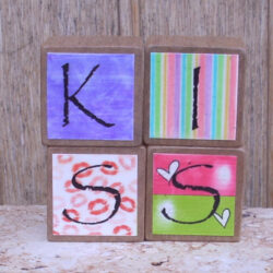 Decorated Wooden Blocks - Kiss