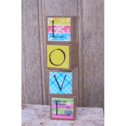 Decorated Wooden Blocks - Love