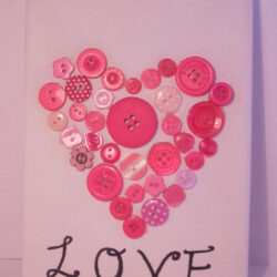 Pink Buttons Love Heart Canvas