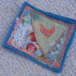 Blue Vintage-Style Embroidered Brooch