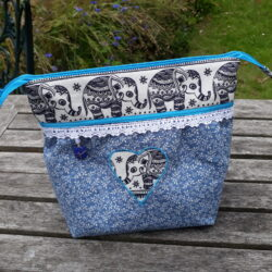 blue elephant wash bag