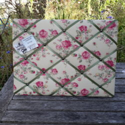 vintage roses fabric pinboard