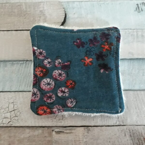 reusable face wipe turquoise floral