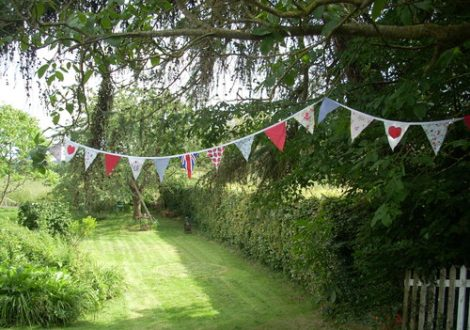 bunting on the lawn